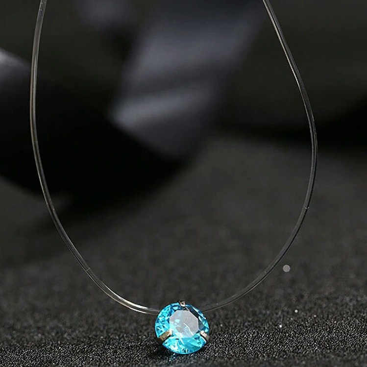 New Transparent Fishing Line Necklace Female Silver Invisible Chain Necklace Women Mermaid Rhinestone Choker Necklace Collier