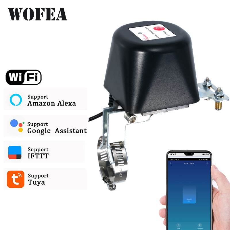 Wofea Tuya Smart Valve For Water Gas WiFi Shut OFF ON Smart Life Controller Work With Amazon Alexa Google Assistant IFTTT