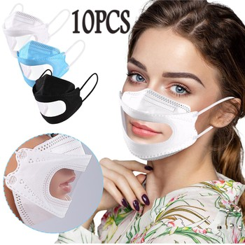 10pcs Men Women Masks Adult Transparent Lips Solid Disposable Face Mask Earloop Anti-pm2.5 Mascarillas Cubrebocas