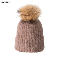 цена на 2019 Winter Solid Color Fox Fur Beanies Female Warm Knitted Hats Genuine Natural Raccoon Fur Wool Hat Fashion Women wool Hat