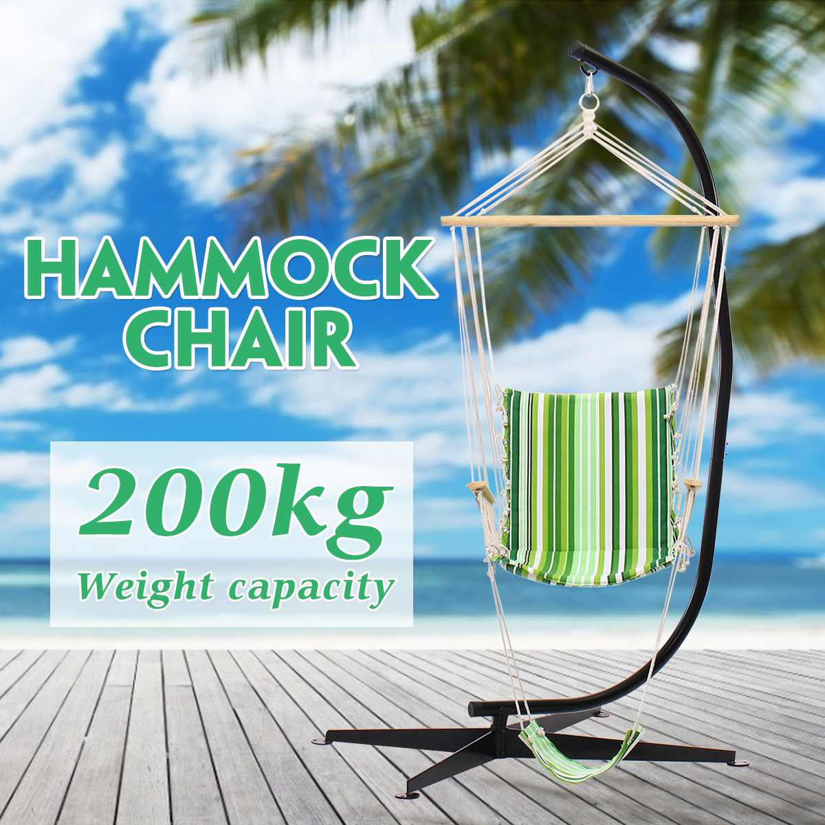 200kg/440lb Load C Hammock Stand Frame Solid Steel Construction With Hanging Air Porch Swing Chair Hanging Chair C-stand