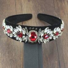 Vintage accesorios capilares de lujo hecho a mano cristal rojo y grano de arroz abeja perla diadema para la fiesta de boda de las mujeres