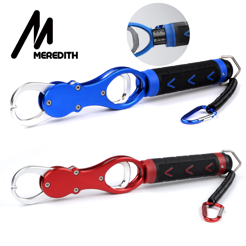 MEREDITH Aluminum Fish Grip With Scale Lip Grabber Fishing Gripper Holder 15kg/33LB + Retention Ropes Weigh Fishing Tool