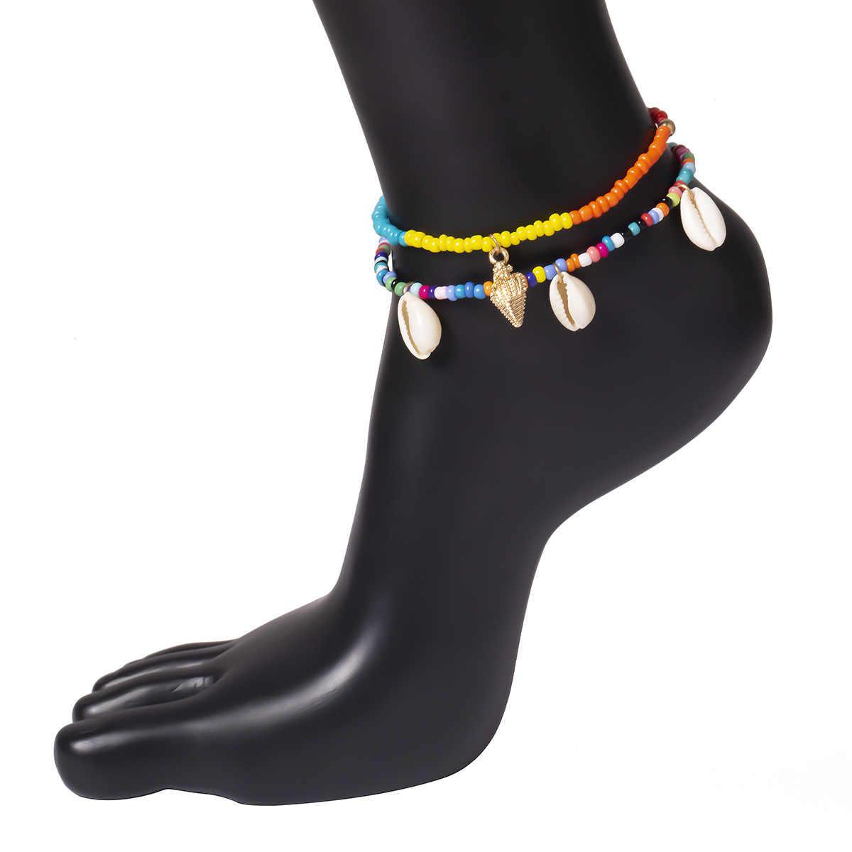 2 יח'\סט בוהמי טבעי ים פגז חרוזים Anklets לנשים Coloful צמיד על רגל שרשרת עכס קיץ חוף תכשיטי רגל 2019