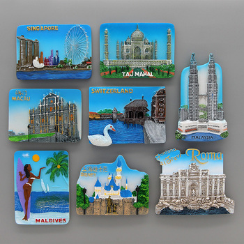 Macao malaysia maldives roma china Shanghai Disneyland Singapore switzerland Taj Mahal india 3d fridge magnets home decoration 1