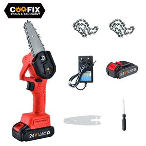 COOFIX 24V Pruning Mini Electric Chainsaw For Woodworking Garden Logging Tools With Batterys Brushless Chain Saws Wood Cutters