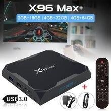 Оригинальная ТВ-приставка X96 MAX Plus, Android 9,0, четырехъядерный процессор Amlogic S905X3, 16 ГБ, 64 ГБ, 32 ГБ, 8K, поддержка 4K, 3D, Wi-Fi, Bluetooth, сетевой комплект