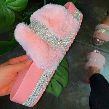 Summer Slippers Woman Faux Fur Slides Rhinestone Furry Pink Shoes Pantufas De Pelucia Bi Fluffy Sliders Plush - discount item  46% OFF Women's Shoes