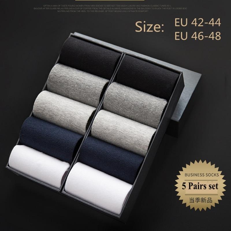 5 Pairs Mens Fashion Dress Cotton Socks Anti Deodorant Large Size Crew Socks Casual Standard Men Business Black Socks Set 45-48