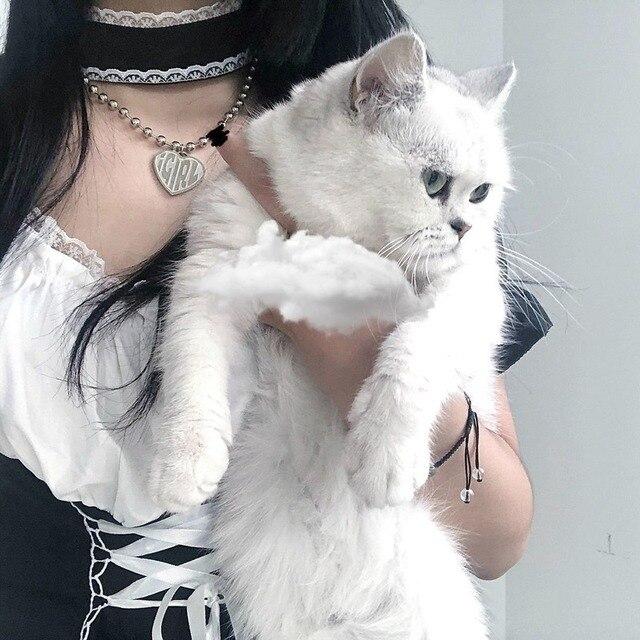 QWEEK Goth Maid Dress Kawaii Gothic Milkmaid Lolita Outfit Cosplay Costumes E Girl Puff Sleeve Bandage Dress 2021 Mall Goth Emo 5