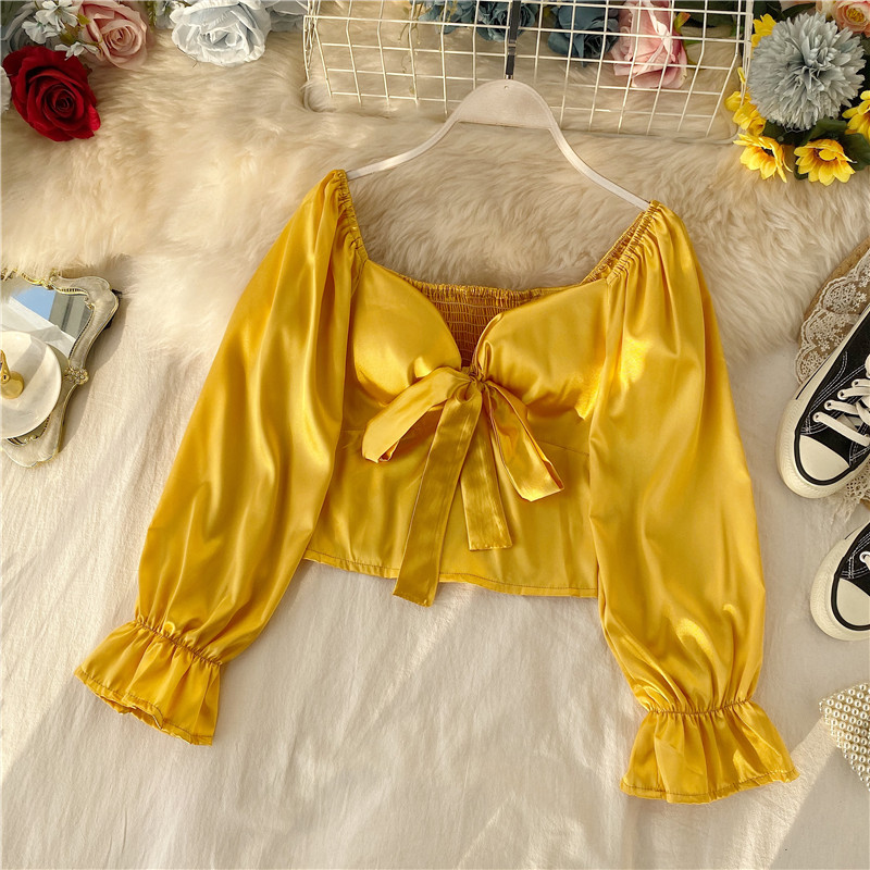 Women's Full Shirt Spring Autumn New Slim Fit Short Shirt Sexy V-neck Bow Puff Sleeve Show Clavicle High Waist Top Blouse ML679