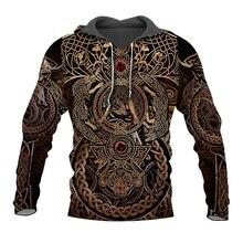 Liumaohua 최신 패션 바이킹 전사 문신 3D 인쇄 셔츠 캐주얼 3D 인쇄 후드/스웨터/지퍼 남자 여자 탑스 005