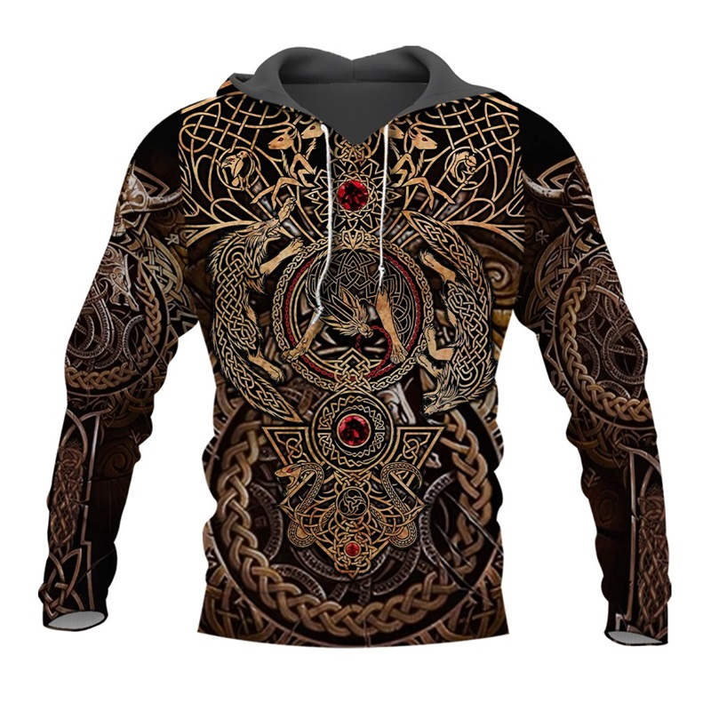 Liumaohua Newest Fashion Viking Warrior Tattoo 3D Printed Shirts Casual 3D Print Hoodies/Sweatshirt/Zipper Man Women Tops 005