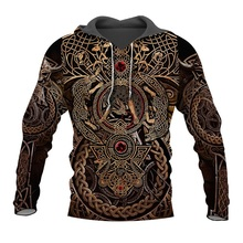 Liumaohua Newest Fashion Viking Warrior Tattoo 3D Printed Shirts casua