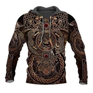 Image 1 - Liumaohua Новая мода Viking Warrior тату 3D Печатные Рубашки повседневные 3D принты толстовки/на молнии мужские женские топы 005