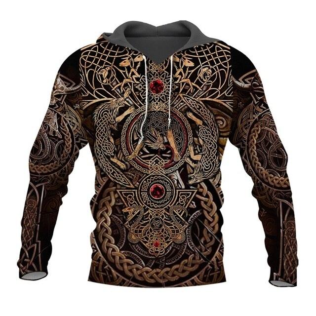 Liumaohua أحدث موضة فايكنغ المحارب الوشم ثلاثية الأبعاد قمصان مطبوعة عادية ثلاثية الأبعاد طباعة هوديس/البلوز/سستة رجل إمرأة بلايز 005