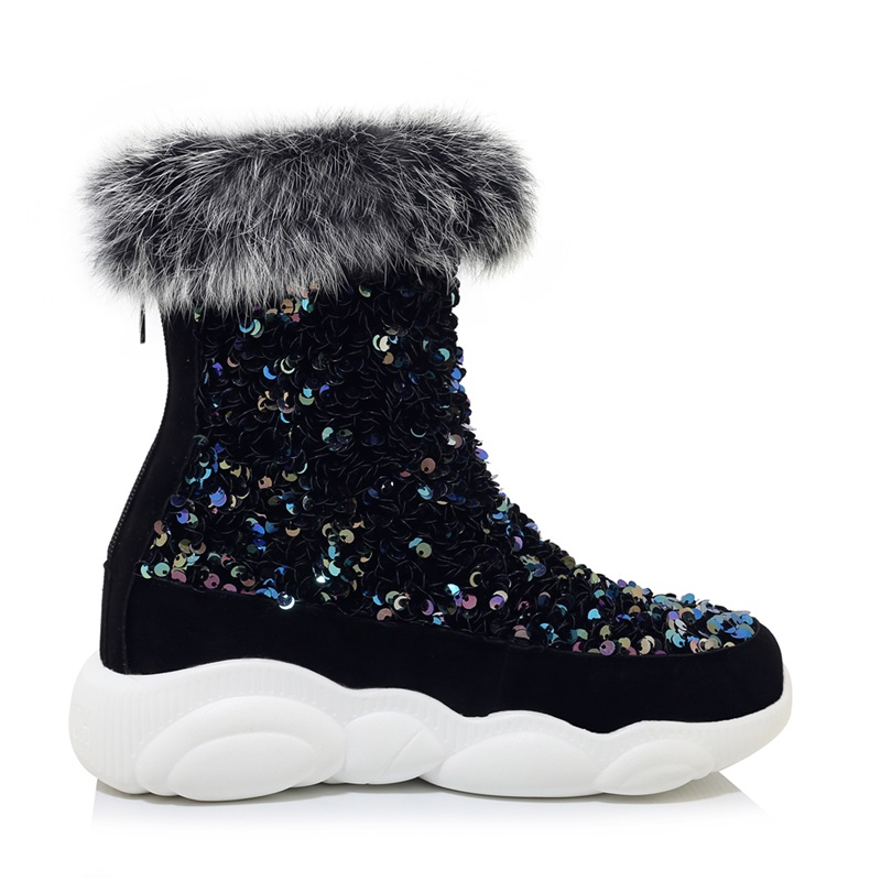 fashion warm thick fur bling winter snow boots ankle boots for women shoes fashion female outdoor casual flats platform boots