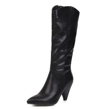 Δερμάτινες Γυναικείες Μπότες Με Τακούνια 9.5cm