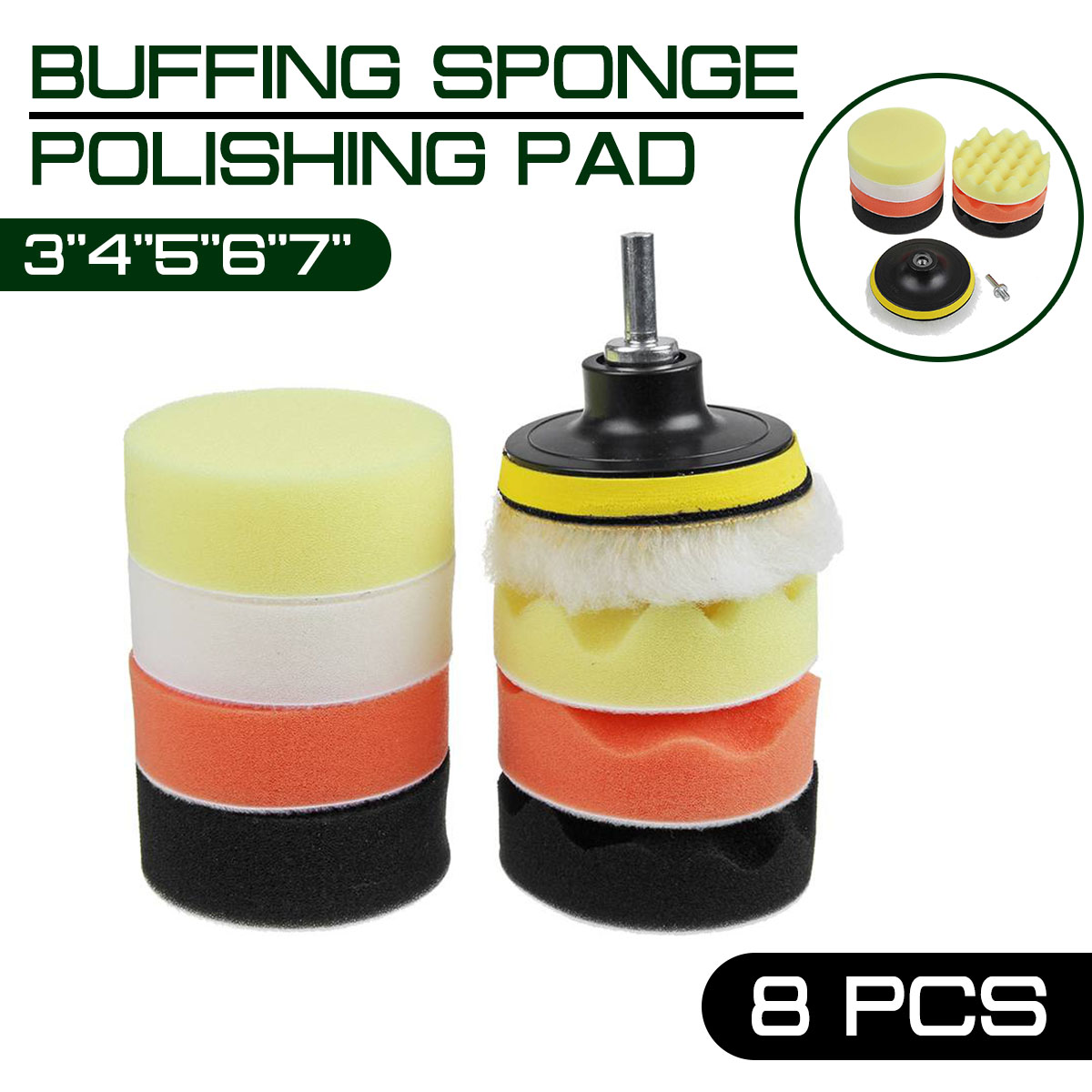 3''4''5''6''7'' 10pcs Buffing Sponge Polishing Pad Hand Tool Kit For Car Polisher Compound Polishing