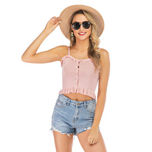 New Pleated Ruffled Sleeveless Short Camisole Female Slim Wild Tube Top Summer letter embroidered pleated tube top