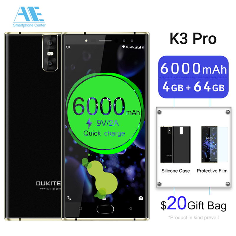 "Oukitel K3 Pro Mobile Phone 5.5""Dual 2.5D Screen 6000mAh MT6750T Octa Core 4GB 64GB 4 Cameras 16MP+2MP Front Smartphone"