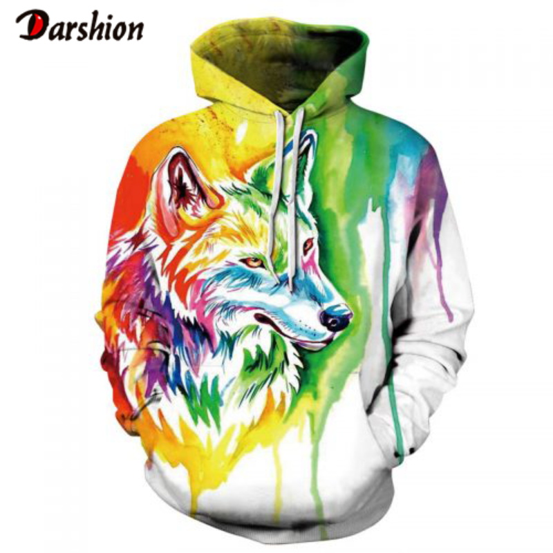Fashion Cool Men Tops 3D Animals Wolf Print Men's Hoodies Sweatshirts Fashion Brand Men Funny Plus Size XXS-4XL Hoodies For Male