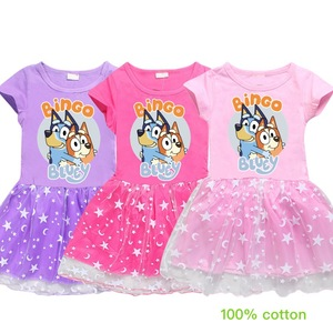 Kids Dresses for Girls Bingo Bluey Toddler Girl Summer Clothes Cotton A-Line Cute Dogs Knee-Length Gils Clothing for Student(China)