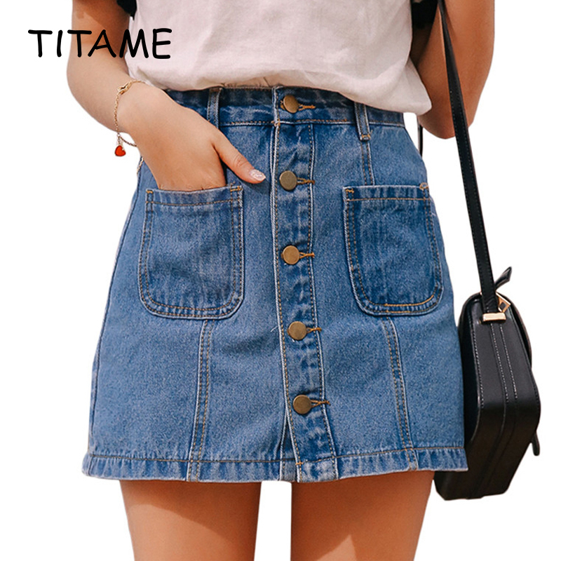 TITAME Denim Skirt High Waist A-line Mini Skirts Women Single Button Pockets Blue Jean Skirt Girls Mini Skirt Jeans Skirt