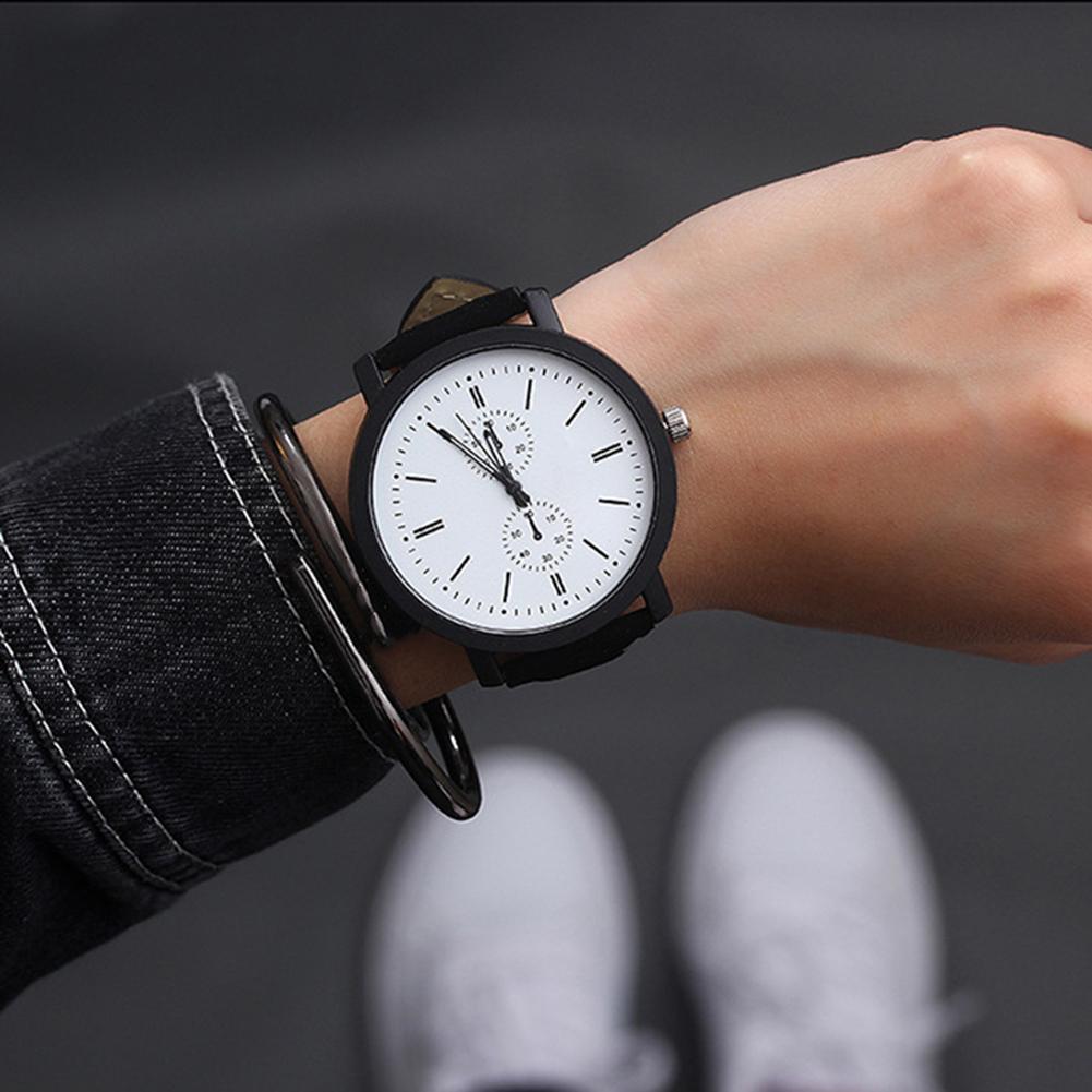 Fashion Men Women Dual Scale Watch Black Case Sub-dial Decor Analog Faux Leather Band Quartz Wrist Watch Couple Watch Gift