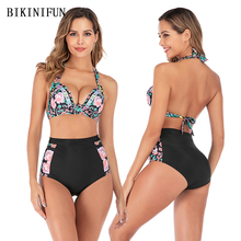 New Sexy Floral Print Bikini Women Swimsuit Backless Halter Bathing Suit S-XL Underwire Padded Swimwear High Waist Bikini Set stylish halter strappy backless crochet underwire bikini set for women