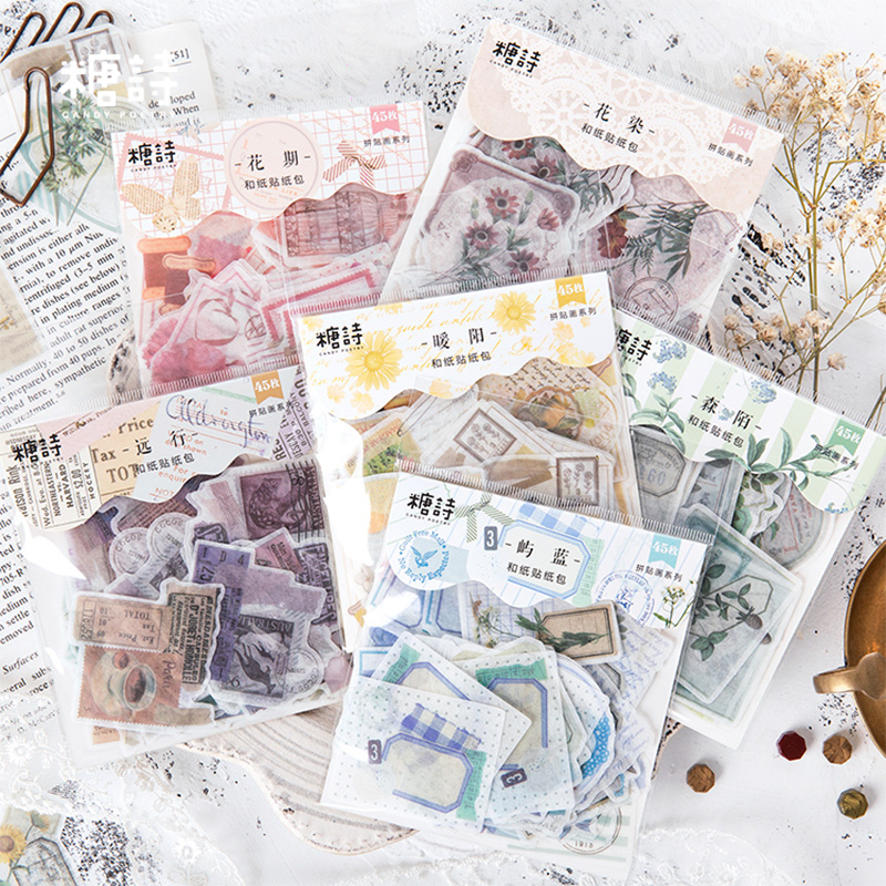 45 Pcs/lot Vintage Collage Postmark Paper Sticker Decoration DIY Album Diary Scrapbooking Label Sticker Kawaii Stationery