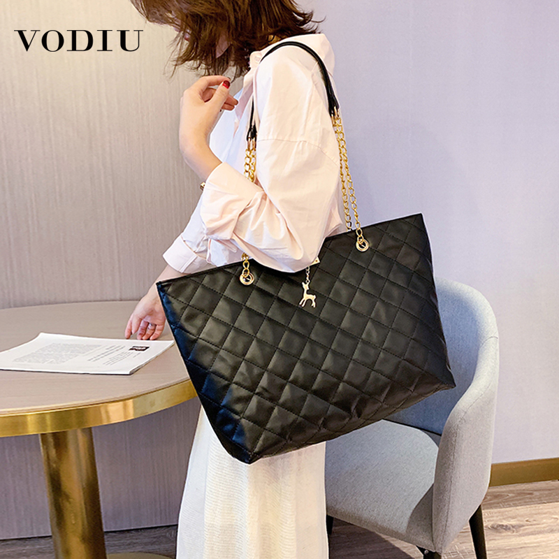 Fashion Handbag Women Shoulder Bag PU Leather Large Capacity Women Big Bags Ladies Casual Tote Rhombic Chain Hasp New Designer