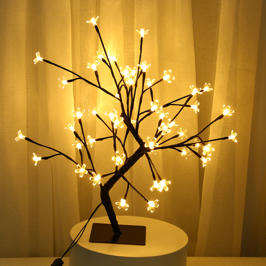 48 LED EU Plug 3D Table-Lamp Copper Wire Christmas Cherry Plum Blossom Tree Night Light For Home Indoor Bar Decor Fairy Light