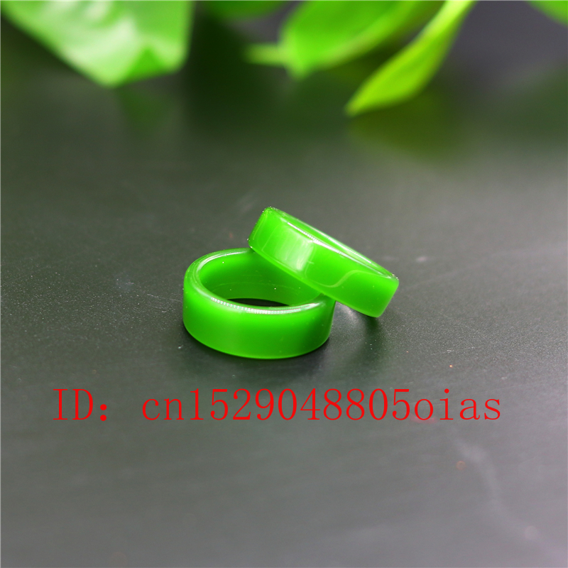 Natural Green Hetian Jade Ring Chinese Jadeite Amulet Fashion Charm Jewelry Hand Carved Crafts Gifts For Women Men