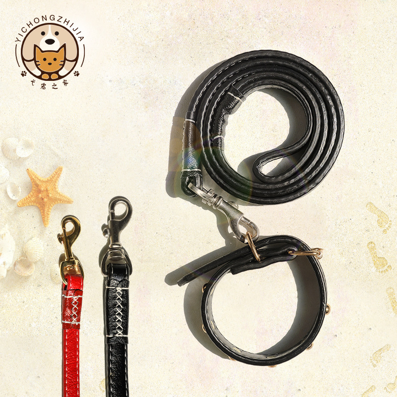 Pet Supplies Small And Medium-sized Dogs Traction Belt High Quality Hide Substance Neck Ring + Dog Hand Holding Rope