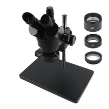 3.5X 90X التكبير المستمر ثلاثي العينيات مجهر ستيريو + حامل معدني كبير الحجم 0.5X/2X المساعدة الهدف عدسة 56 LED حلقة مصباح