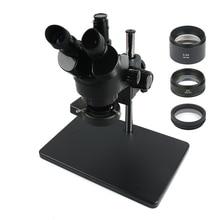 Тринокулярный стереомикроскоп с непрерывным увеличением 3,5x 90X + металлическая подставка большого размера 0,5x/2X, Вспомогательный объектив + 56 светодиодных светодиодный цевых ламп