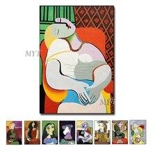 Arte figurativo abstracto hecho a mano, pinturas de Picasso, pintura al óleo moderna, arte de pared, decoración de pared para el hogar, imágenes de arte
