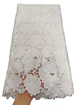 White  African Lace Fabrics 2019 High Quality Lace Nigerian Tulle Lace Fabric Bride Milk Silk French Lace Fabric