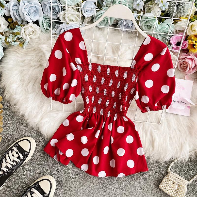 Red Polka Dot Blouse Square Neck Top Vintage Shirt Peplum Summer Blouses Short Sleeve Shirt Women Blusas Mujer De Moda 2020 Tops