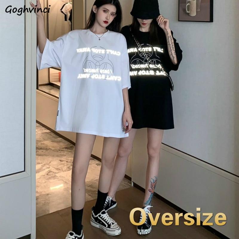 T-shirts Women Letter Printed Womens Half Sleeve Plus Size 2XL Oversize Tshirts Streetwear Fashion Korean Style Tees Loose New