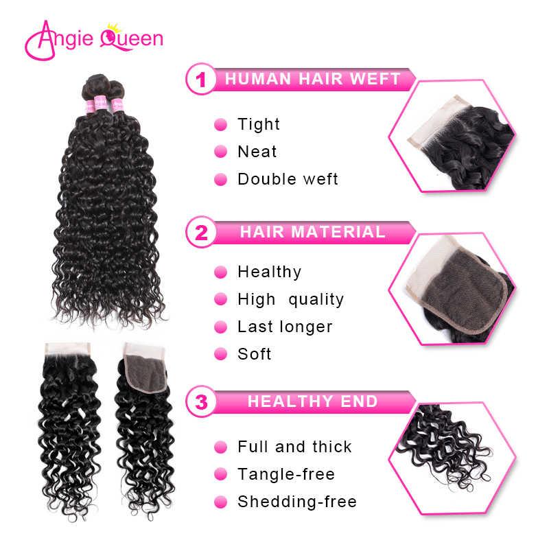 Angie rainha onda de água indiano cabelo não remy cor natural 100% pacotes cabelo humano com fechamento do laço 3 pacotes cabelo com fechamento m