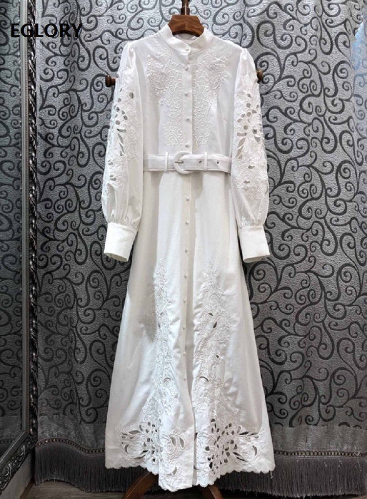 Top Quality New 2020 Spring Long Dress Women Stand Neck Luxurious Embroidery Vintage Buttons Long White Pink Black Maxi Dress