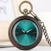 Полностью деревянные карманные часы легкие черное дерево/красное