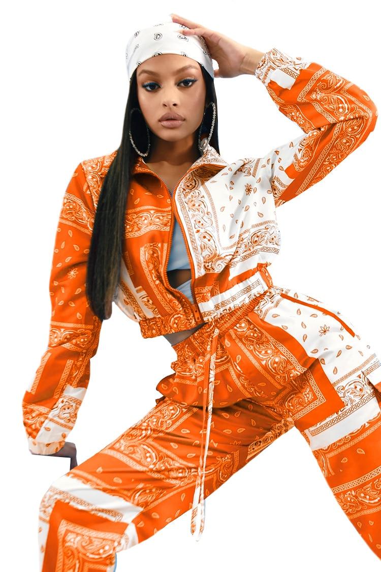 Paisley Bandana Print Two 2 Piece Set Women Fitness Sweatsuit Zipper Up Sweatshirt + Jogger Pants Set Tracksuit Vintage Outfits 7