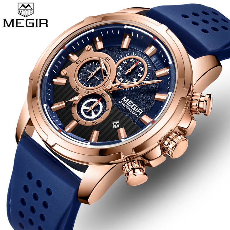 <font><b>MEGIR</b></font> Top Brand Men Sports Analog Quartz Watches Calendar Multifunction Luxury Business Fashion Silicone Waterproof Wrist Watch image