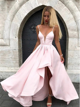Satin Spaghetti Straps Prom Dresses V Neck Pink Evening Dress Asymmetrical robe de soiree Long Party Gowns vestidos formales sexy satin v neck cross front straps playsuits in pink