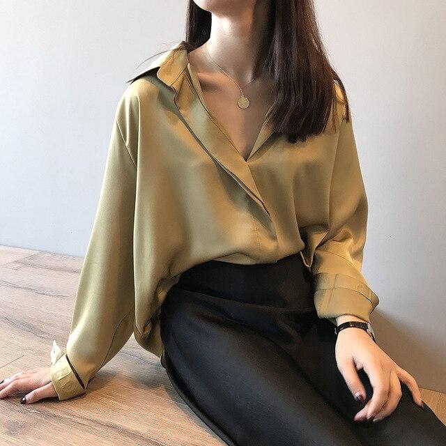 2021 Spring Women Fashion Long Sleeves Satin Blouse Vintage Femme V Neck Street Shirts Elegant Imitation Silk Blouse 5273 50 5