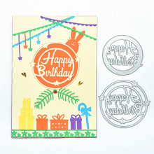 YaMinSanNiO Happy Birthday Letter Metal Cutting Dies Scrapbooking for Card Making DIY Embossing Cuts New Craft Die Circle
