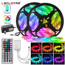 Flexible Neon Light LED Strip 12V for Room Wall Decoration 5050 RGB Tape with 44 key Control Color Change Dimmer Lighting Ribbon